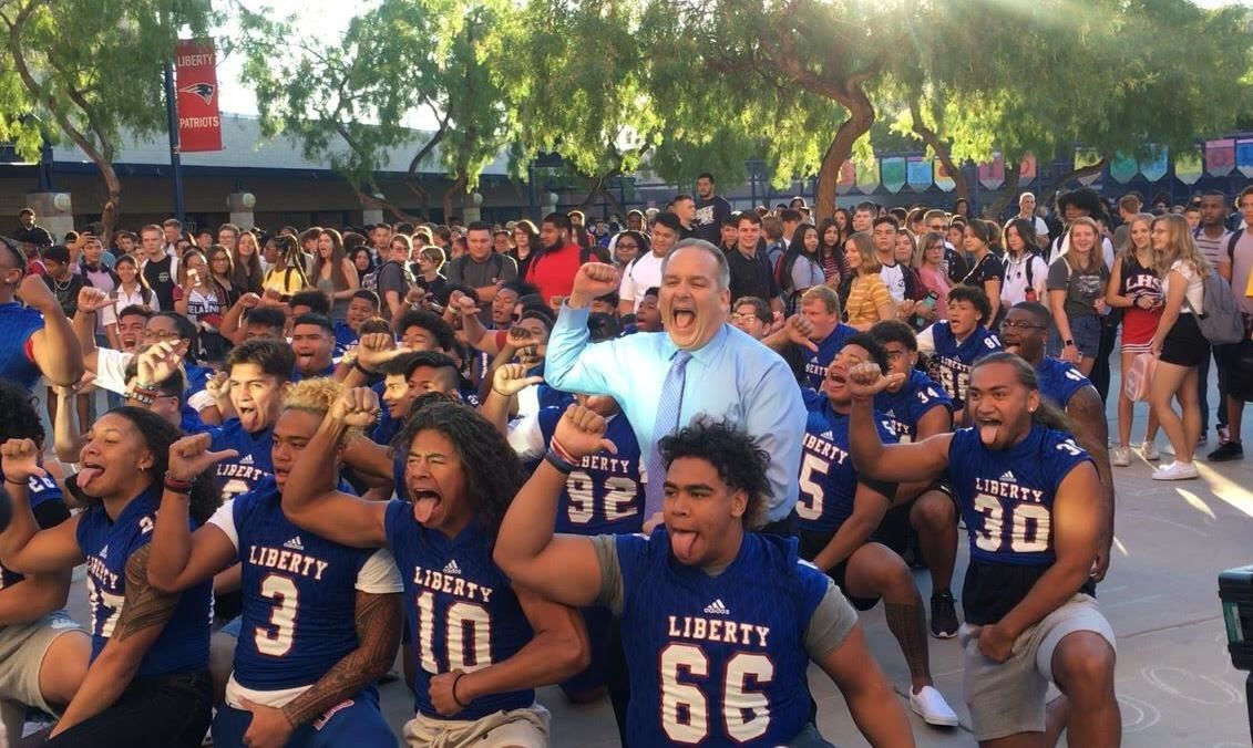 Clark County Schools Superintendent Jesus Jara on the first day of school performs the Haka with Liberty High School.