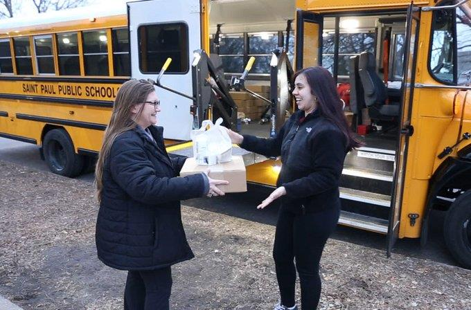 St. Paul district distributes food.