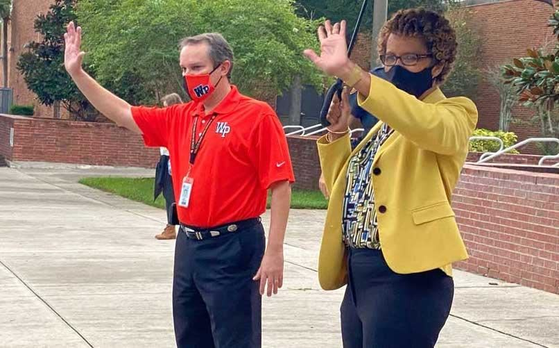 Orange County Supt. Barbara Jenkins greets students on first day of school