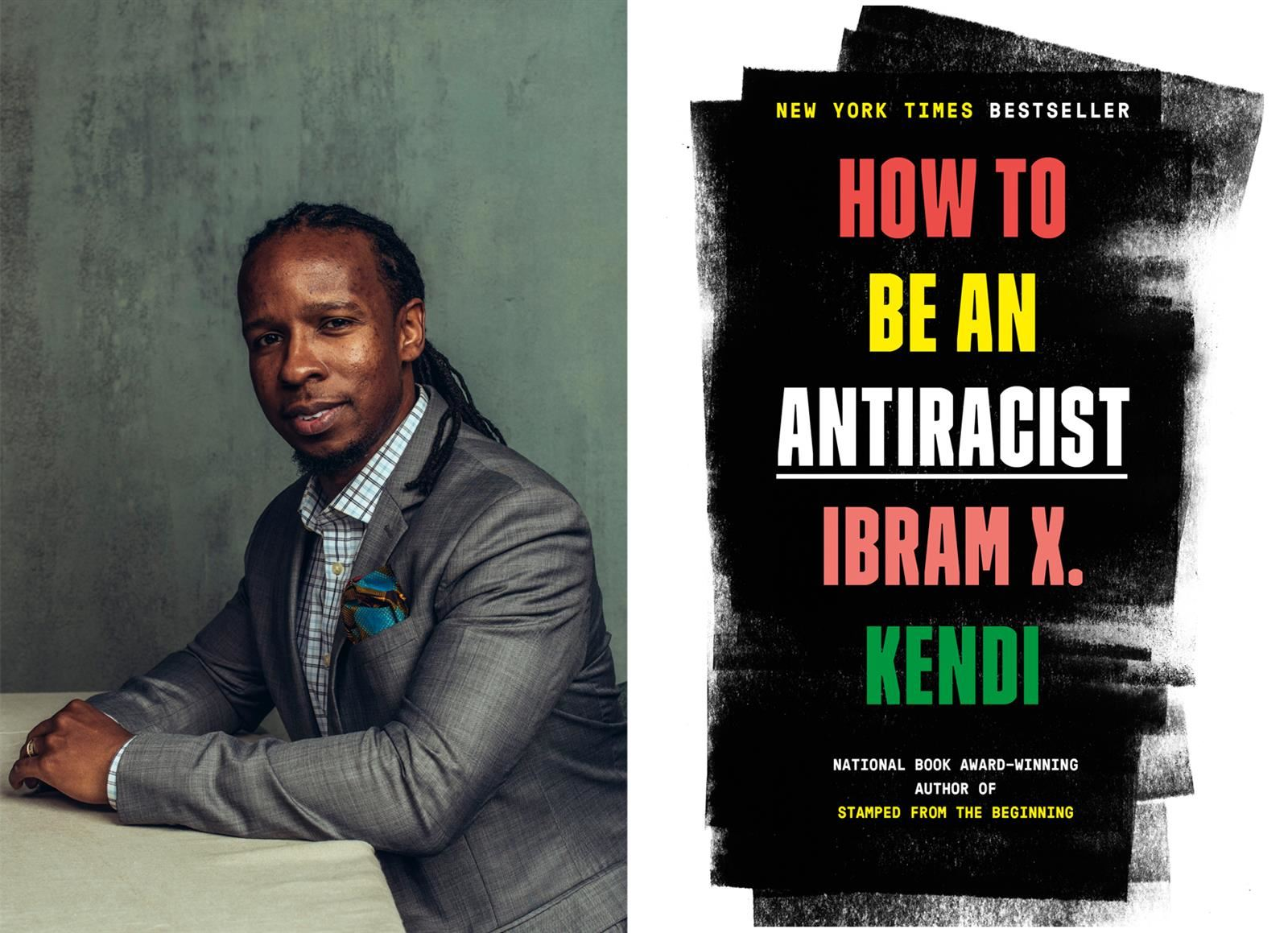 Ibram X. Kendi and cover of his book